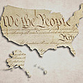 We The People - Us Constitution Map by World Art Prints And Designs