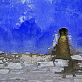 Weathered Blue Wall Of Old World Europe by David Letts