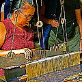 Weaver At Her Loom In Tachilek-burma by Ruth Hager