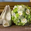Wedding Shoes And Flowers Bouquet by Lee Avison