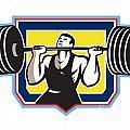 Weightlifter Lifting Heavy Barbell Retro by Aloysius Patrimonio