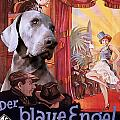 Weimaraner Art Canvas Print - Der Blaue Engel Movie Poster by Sandra Sij