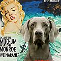 Weimaraner Art Canvas Print - River Of No Return Movie Poster by Sandra Sij