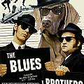 Weimaraner Art Canvas Print - The Blues Brothers Movie Poster by Sandra Sij