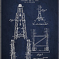 Well Drilling Apparatus Patent From 1960 - Navy Blue by Aged Pixel