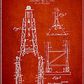 Well Drilling Apparatus Patent From 1960 - Red by Aged Pixel