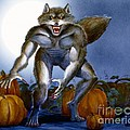 Werewolf With Pumpkins by Melissa A Benson