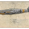 Werner Molders Messerschmitt Bf-109 - Map Background by Craig Tinder