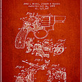 Wesson Hobbs Revolver Patent Drawing From 1899 - Red by Aged Pixel