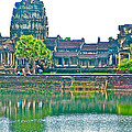 West Gallery From Across Moat In Angkor Wat In Angkor Wat Archeological Park Near Siem Reap-cambodia by Ruth Hager