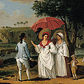 West Indian Landscape With Figures Promenading Before A Stream by Agostino Brunias