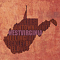 West Virginia State Word Art on Canvas by Design Turnpike