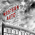 Western Auto Sign Downtown Kansas City B W by Andee Design