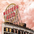 Western Auto Sign Downtown Kansas City In Pink by Andee Design