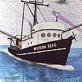 Western Seas Trawl Fishing Boat Nautical Chart Art by Cathy Peek