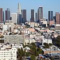 Westlake And Los Angeles Skyline by Bill Cobb