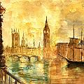 Westminster Palace London Thames by Juan  Bosco