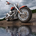 Wet And Wild - Harley Screamin' Eagle Reflection by Gill Billington