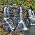 When Light And Water Falls-2a Three Cascades Over Blackwater Falls State Park Wv Autumn Mid-morning by Michael Mazaika