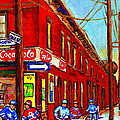 When We Were Young - Hockey Game At Piche's - Montreal Memories Of Goosevillage by Carole Spandau