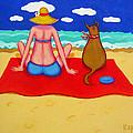 Whimsical Beach Seashore Woman And Dog by Rebecca Korpita