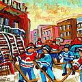 Whimsical Hockey Art Snow Day In Montreal Winter Urban Landscape City Scene Painting Carole Spandau by Carole Spandau