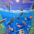 Whimsical Original Painting Undersea World Tropical Sea Life Art By Madart by Megan Duncanson