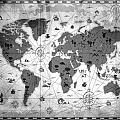 Whimsical World Map Bw by Angelina Tamez