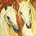 White Arabian Horses by Silvana Gabudean Dobre