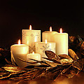White Candles With Gold Leaf Garland  by Sandra Cunningham