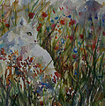 White Cat In Flowers by Sarah Davis