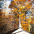 White Church In Autumn by Debra and Dave Vanderlaan