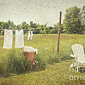 White Cotton Clothes Drying On A Wash Line  by Sandra Cunningham