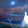 White Crane Dancing In The Light Of The Moon by Kimberlee Baxter