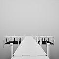 White Dock In Fog 2 by Greg Jackson