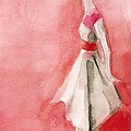 White Dress With Red Belt Fashion Illustration Art Print by Beverly Brown