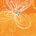 White Flower on Orange by Linda Woods