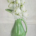 White Flowers Green Vase by Mary Ellen Hill