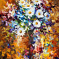 White Flowers - Palette Knife Oil Painting On Canvas By Leonid Afremov by Leonid Afremov