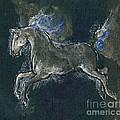 White Horse Minature Painting by Angel Ciesniarska