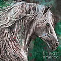 White Horse Painting by Angel Ciesniarska