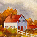 White House With Red Shutters by Teresa Ascone