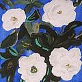White Magnolias On Deep Blue by Mary Carol Williams