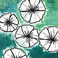 White Petunias- Floral Abstract Painting by Linda Woods