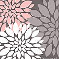White Pink Gray Peony Flowers by Voros Edit