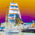 White Sails Ship And Colorful Background by Algirdas Lukas