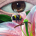 White Tailed Bumble Bee Upon Lily Flower by Christopher Shellhammer