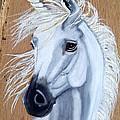 White Unicorn On Wood by Debbie LaFrance