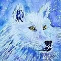 White Wolf - Aurora Nights In Blues - Square by Ellen Levinson