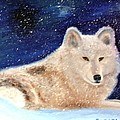 White Wolf In Winter Blizzard by Lora Duguay
